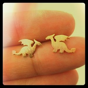 Jewelry - Gold or silver dragon earrings